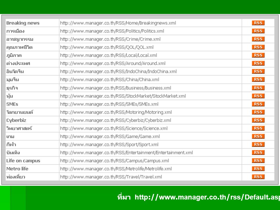 ที่มา http://www.manager.co.th/rss/Default.aspx