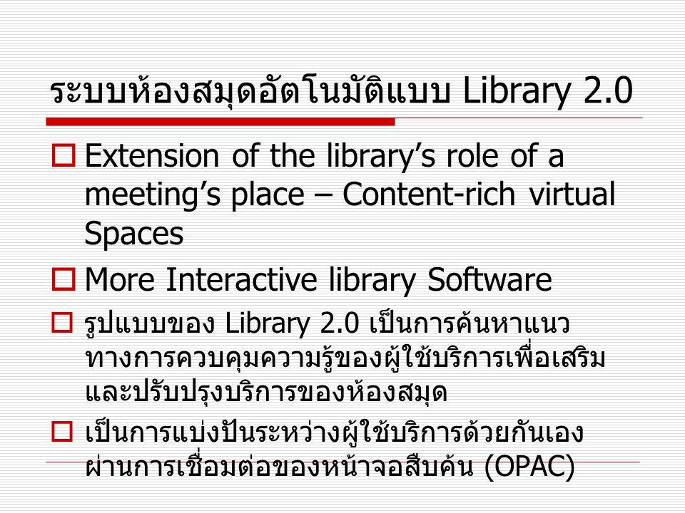 ระบบห้องสมุดอัตโนมัติแบบ Library 2.0