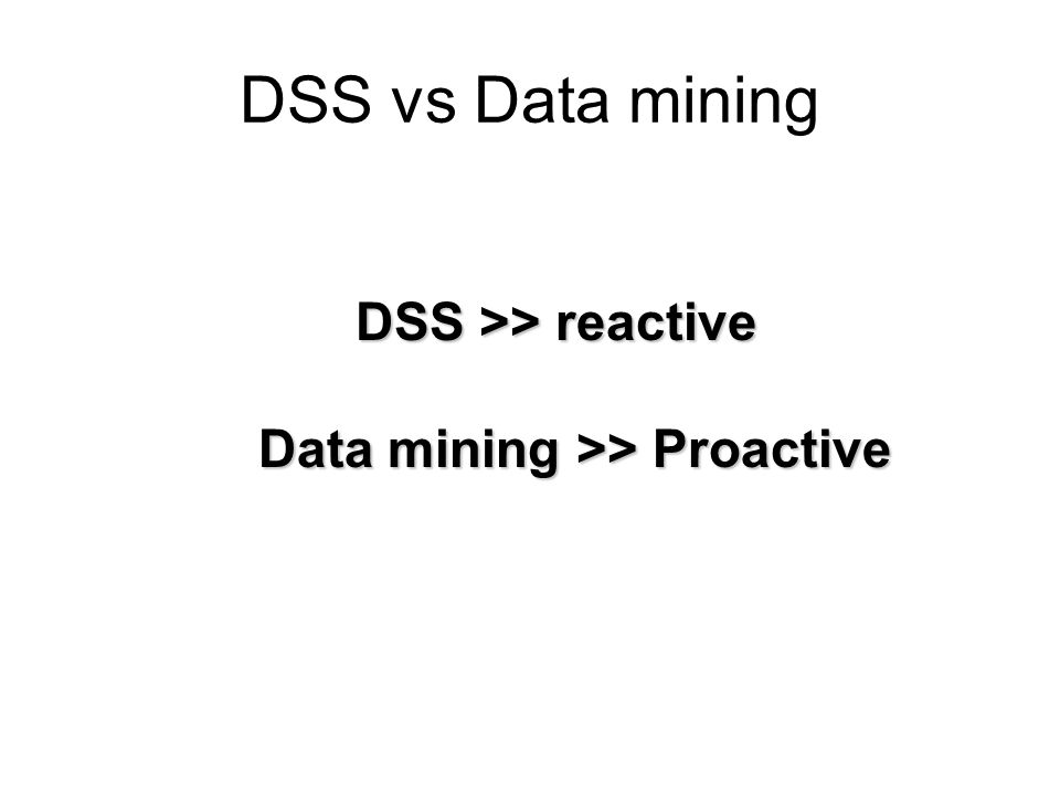DSS vs Data mining DSS >> reactive