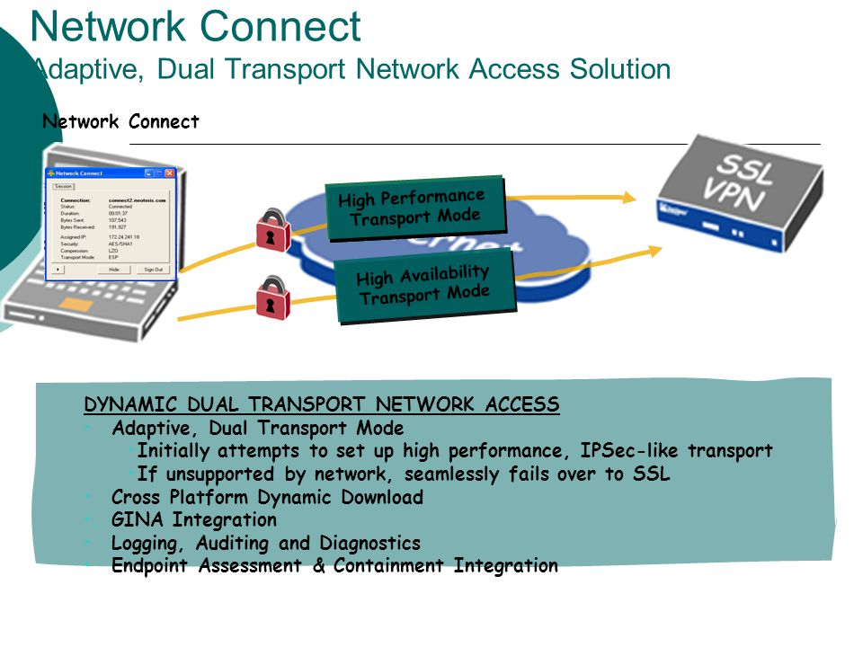 Network Connect Adaptive, Dual Transport Network Access Solution
