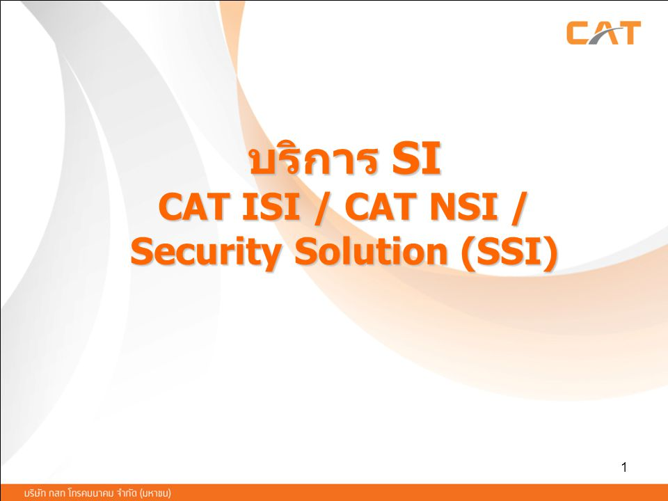 บริการ SI CAT ISI / CAT NSI / Security Solution (SSI)