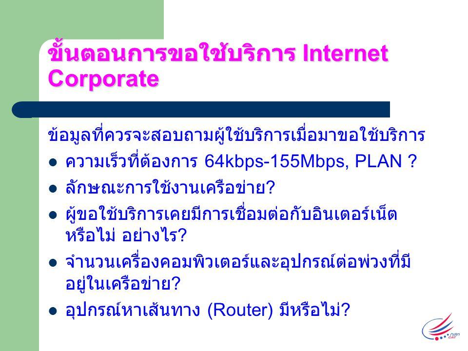 ขั้นตอนการขอใช้บริการ Internet Corporate