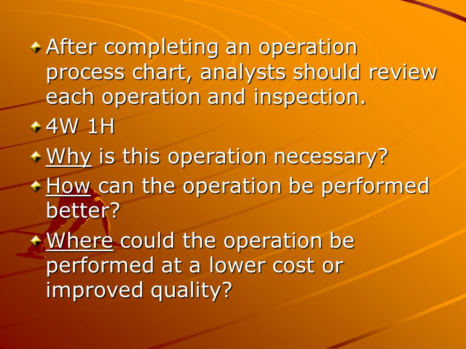 After completing an operation process chart, analysts should review each operation and inspection.