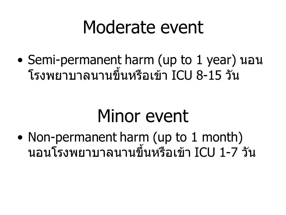 Moderate event Minor event