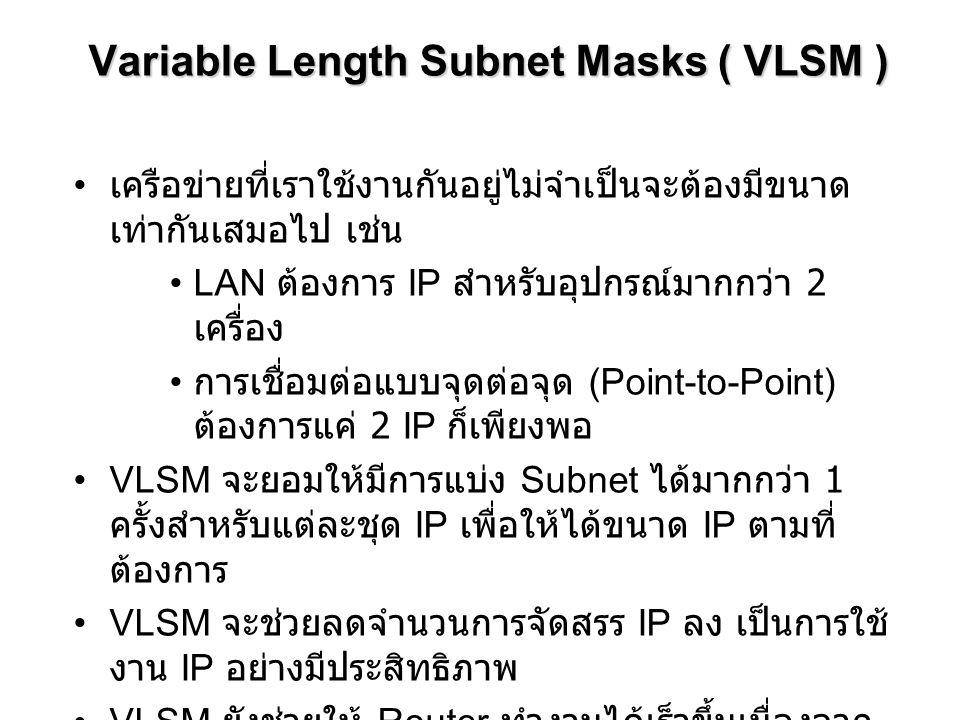 Variable Length Subnet Masks ( VLSM )