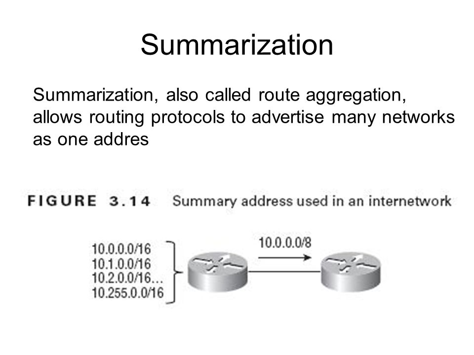 Summarization Summarization, also called route aggregation, allows routing protocols to advertise many networks as one addres.
