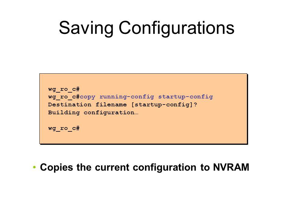 Saving Configurations