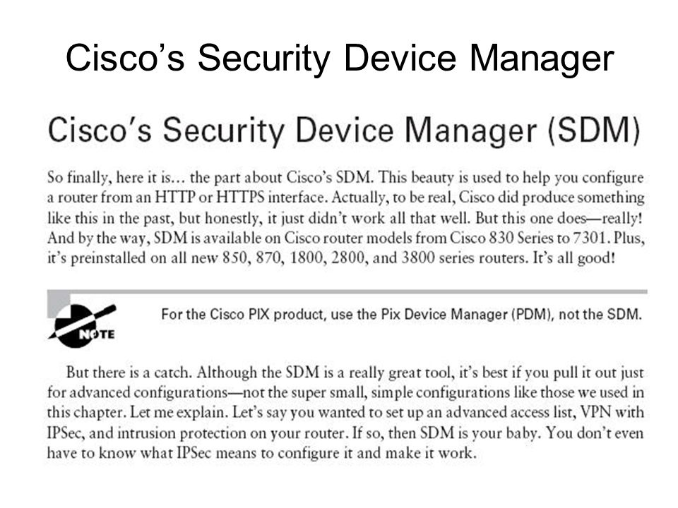 Cisco's Security Device Manager