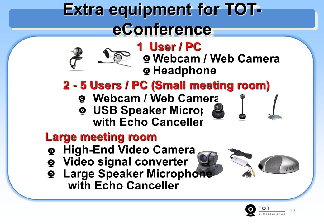 Extra equipment for TOT-eConference