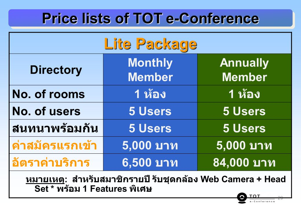 Price lists of TOT e-Conference