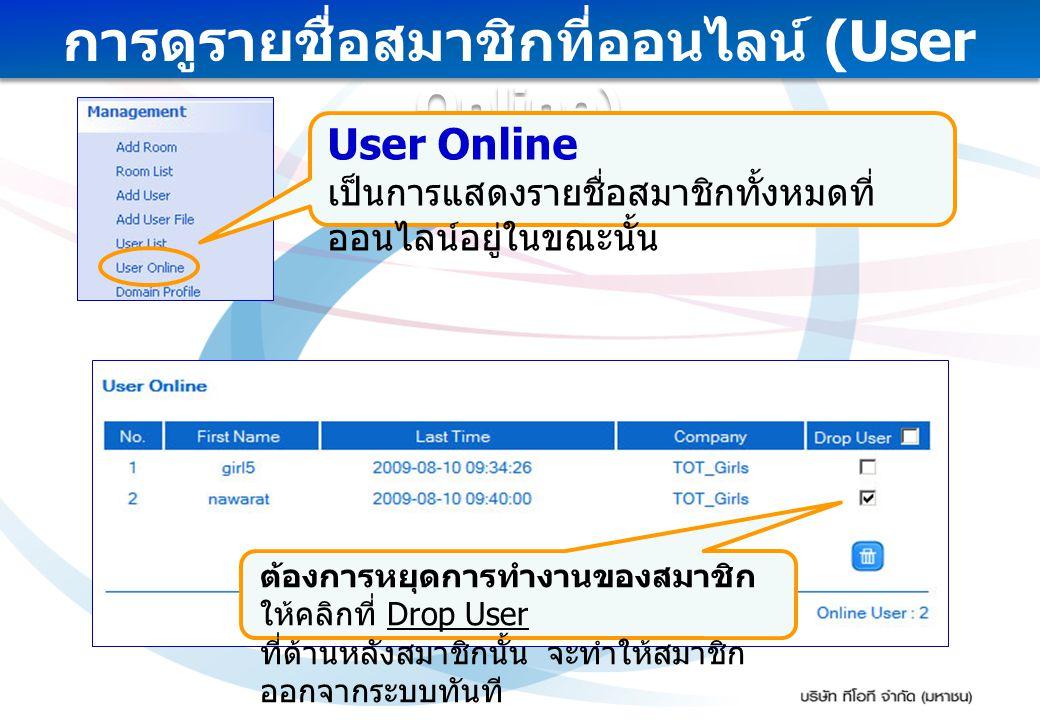 การดูรายชื่อสมาชิกที่ออนไลน์ (User Online)