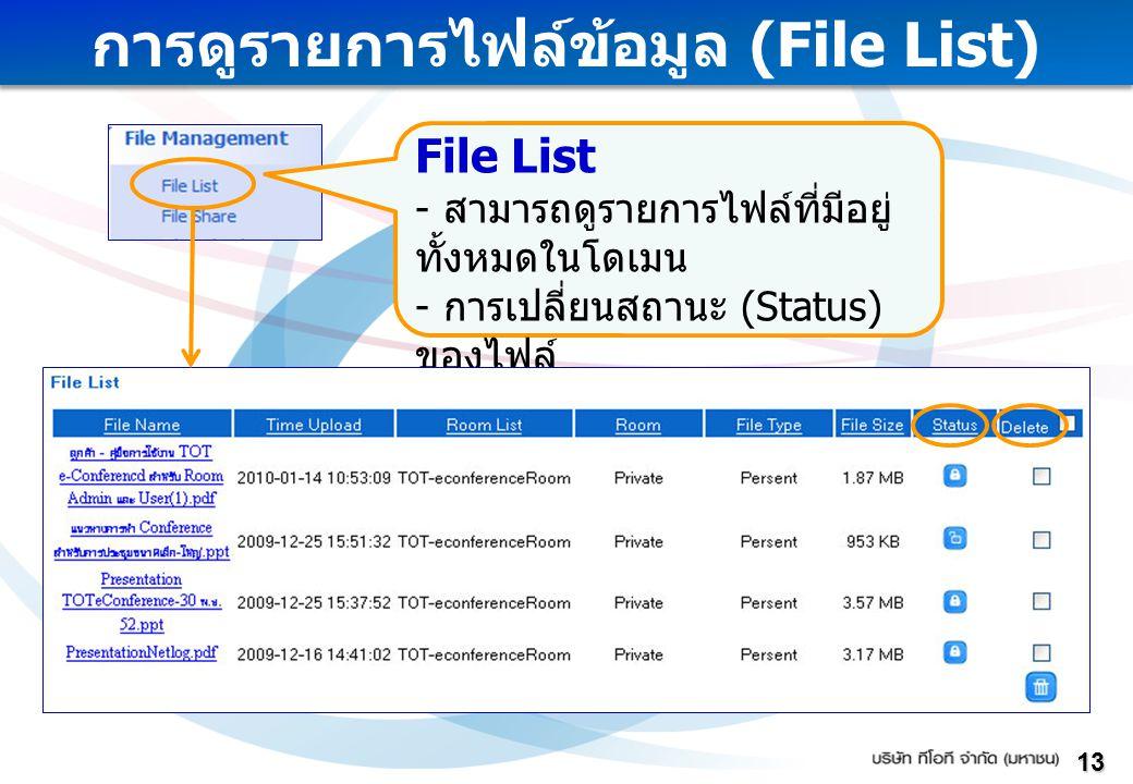 การดูรายการไฟล์ข้อมูล (File List)