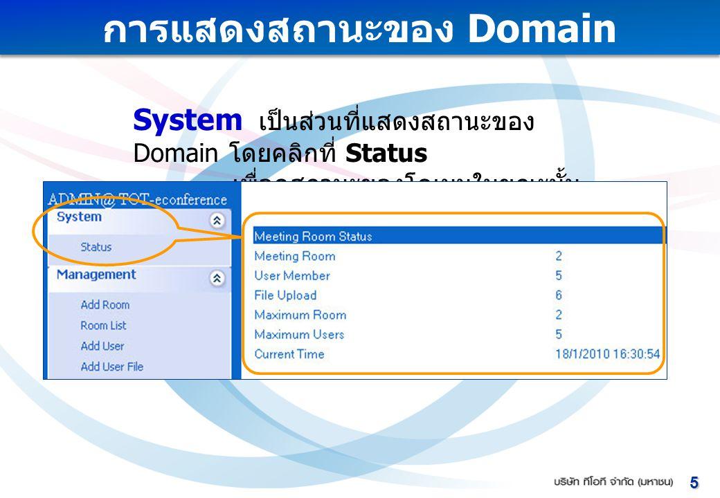 การแสดงสถานะของ Domain