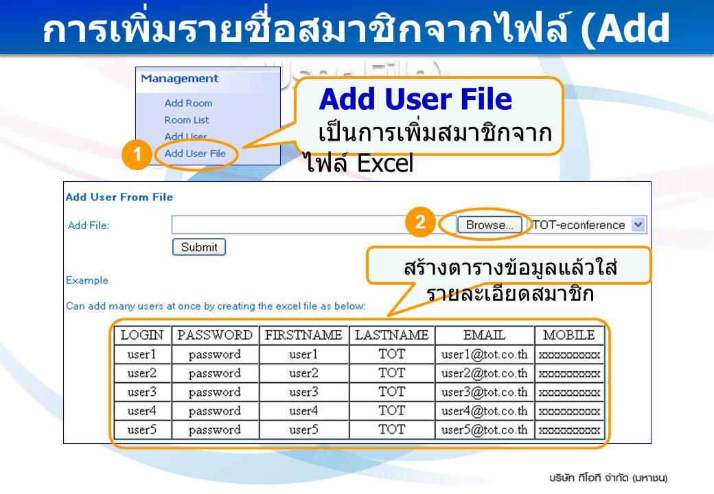 การเพิ่มรายชื่อสมาชิกจากไฟล์ (Add User File)