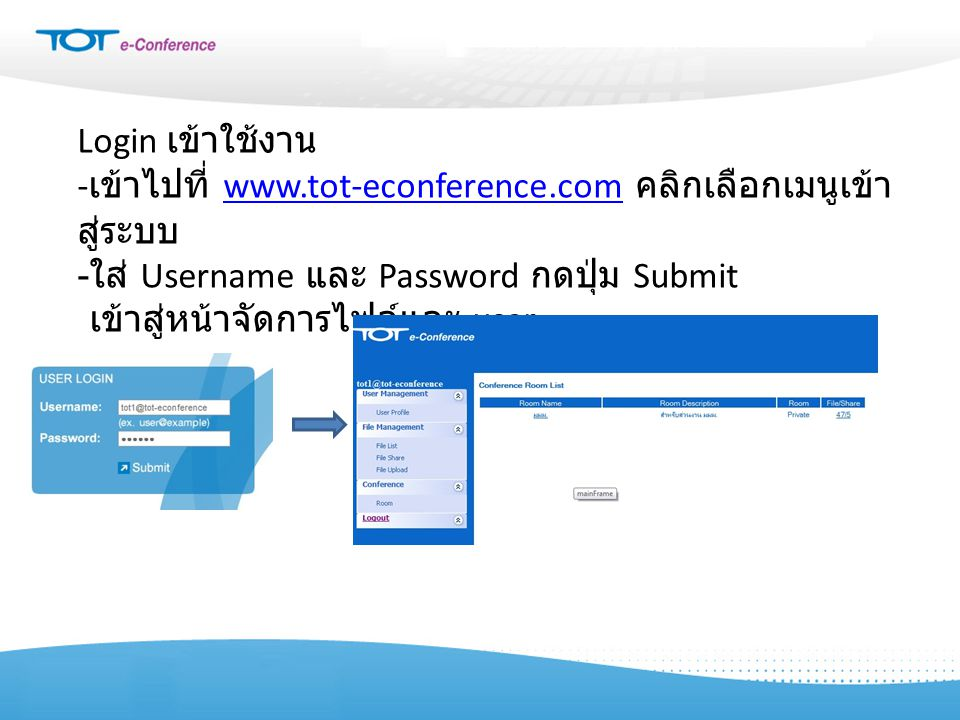 Login เข้าใช้งาน -เข้าไปที่ www.tot-econference.com คลิกเลือกเมนูเข้าสู่ระบบ. -ใส่ Username และ Password กดปุ่ม Submit.