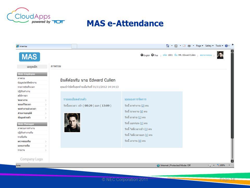 MAS e-Attendance © NEC Corporation 2011
