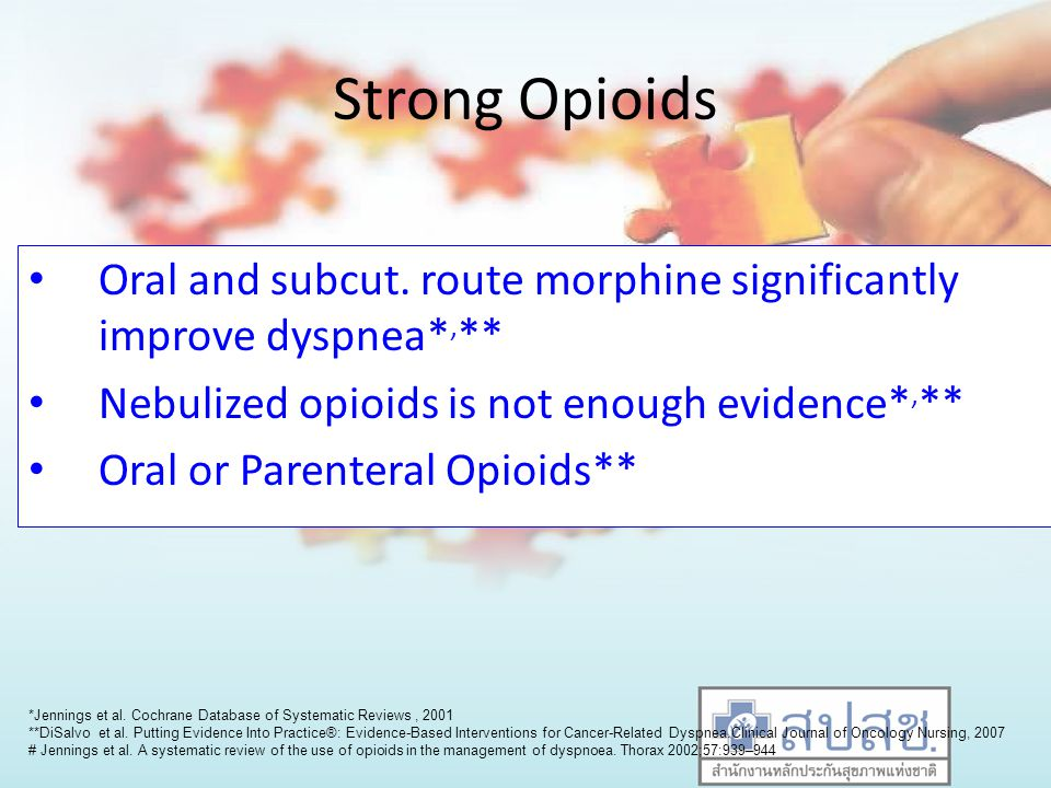 Strong Opioids Oral and subcut. route morphine significantly improve dyspnea*,** Nebulized opioids is not enough evidence*,**