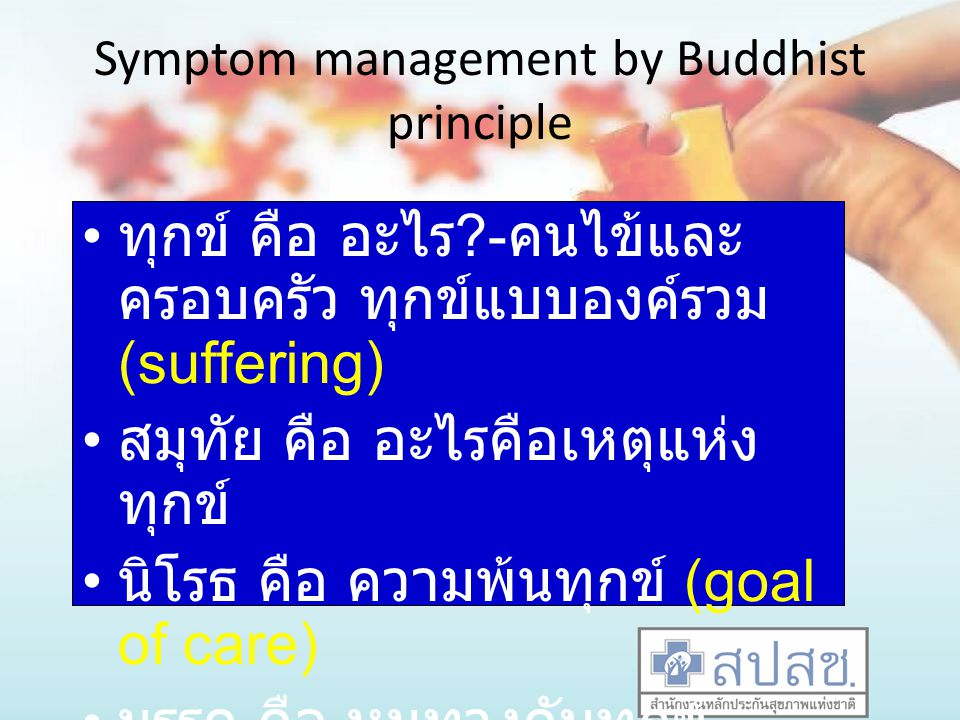 Symptom management by Buddhist principle