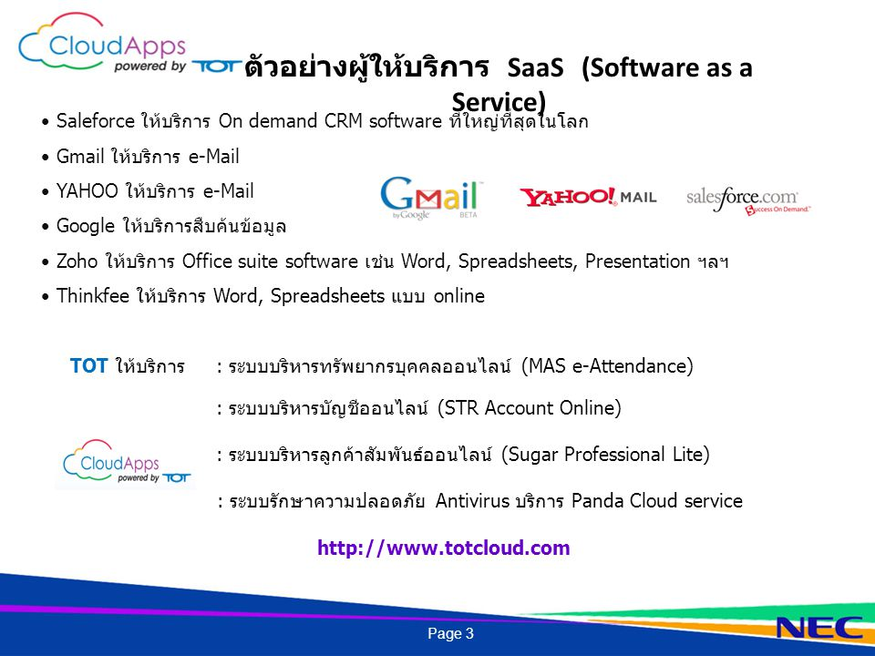 ตัวอย่างผู้ให้บริการ SaaS (Software as a Service)