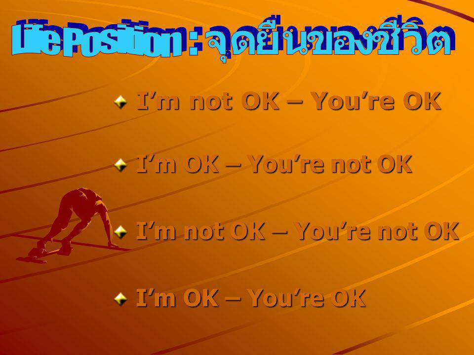 จุดยืนของชีวิต Life Position. : I'm not OK – You're OK. I'm OK – You're not OK. I'm not OK – You're not OK.