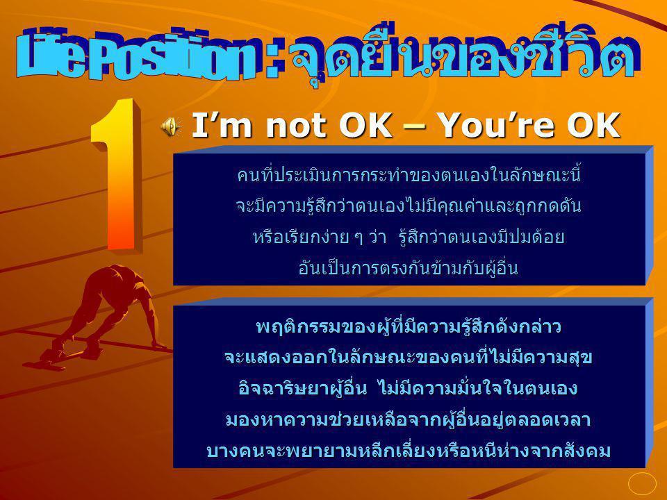 จุดยืนของชีวิต Life Position : 1 I'm not OK – You're OK