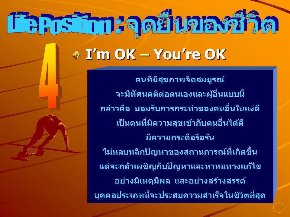 จุดยืนของชีวิต Life Position : 4 I'm OK – You're OK