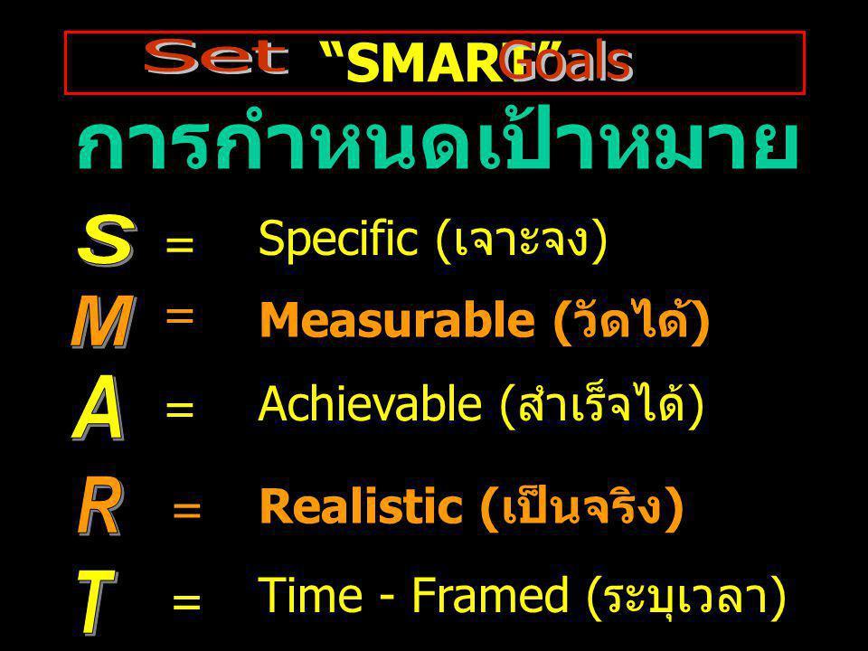 การกำหนดเป้าหมาย M SMART S Specific (เจาะจง) = = Measurable (วัดได้)