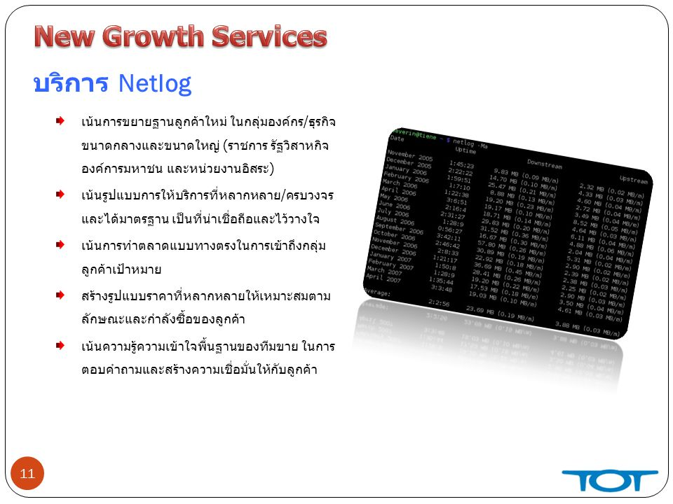 New Growth Services บริการ Netlog