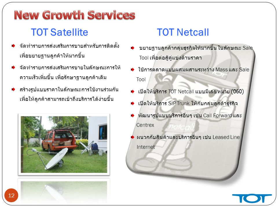 New Growth Services TOT Satellite TOT Netcall