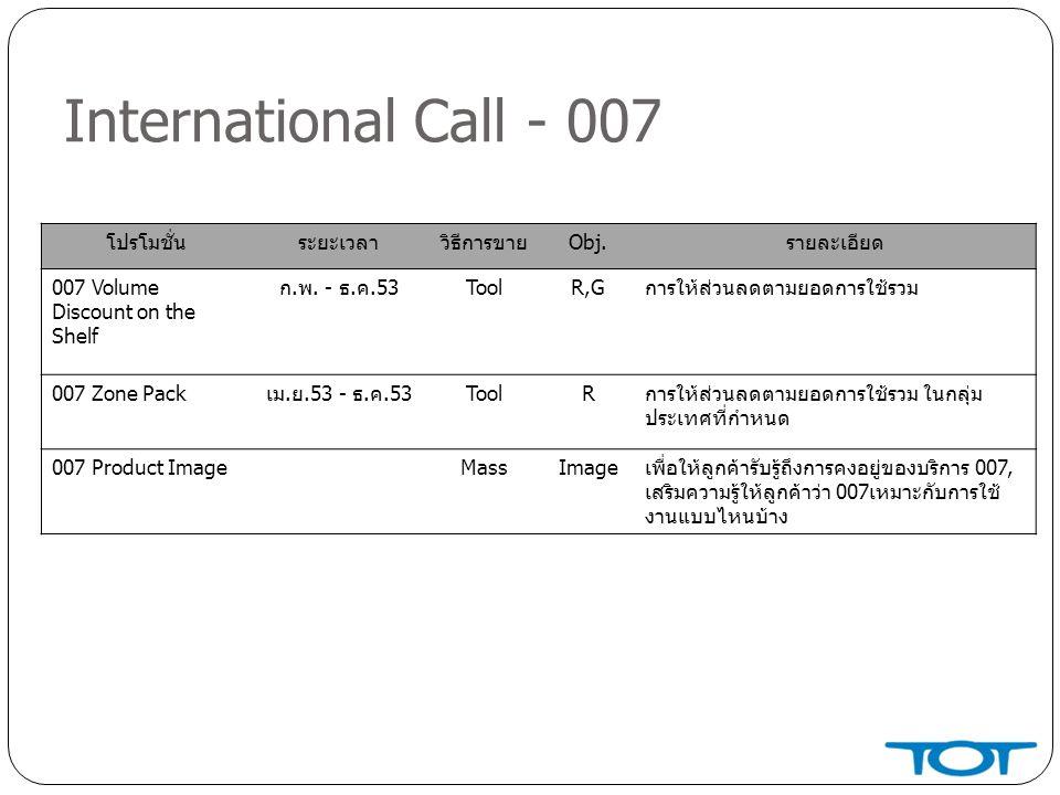 International Call - 007 โปรโมชั่น ระยะเวลา วิธีการขาย Obj. รายละเอียด