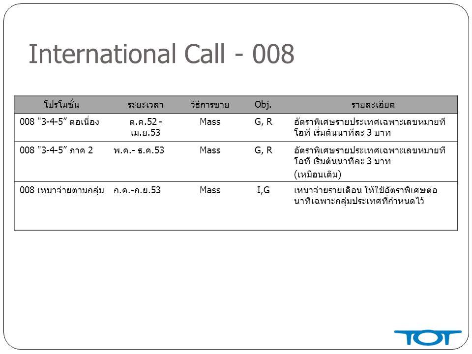 International Call - 008 โปรโมชั่น ระยะเวลา วิธีการขาย Obj. รายละเอียด
