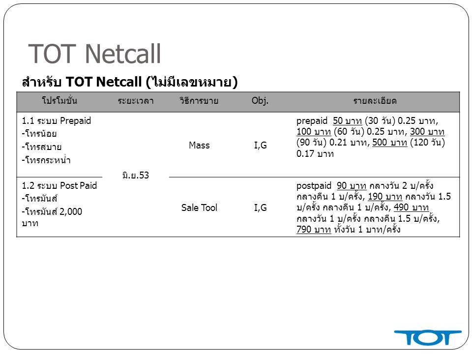 TOT Netcall สำหรับ TOT Netcall (ไม่มีเลขหมาย) โปรโมชั่น ระยะเวลา