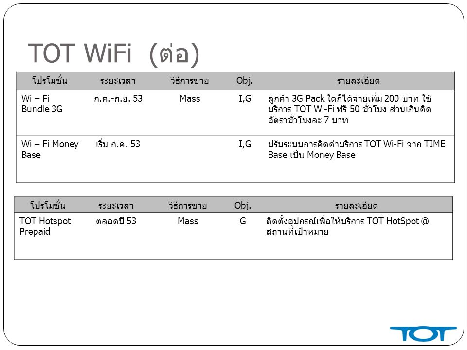 TOT WiFi (ต่อ) โปรโมชั่น ระยะเวลา วิธีการขาย Obj. รายละเอียด