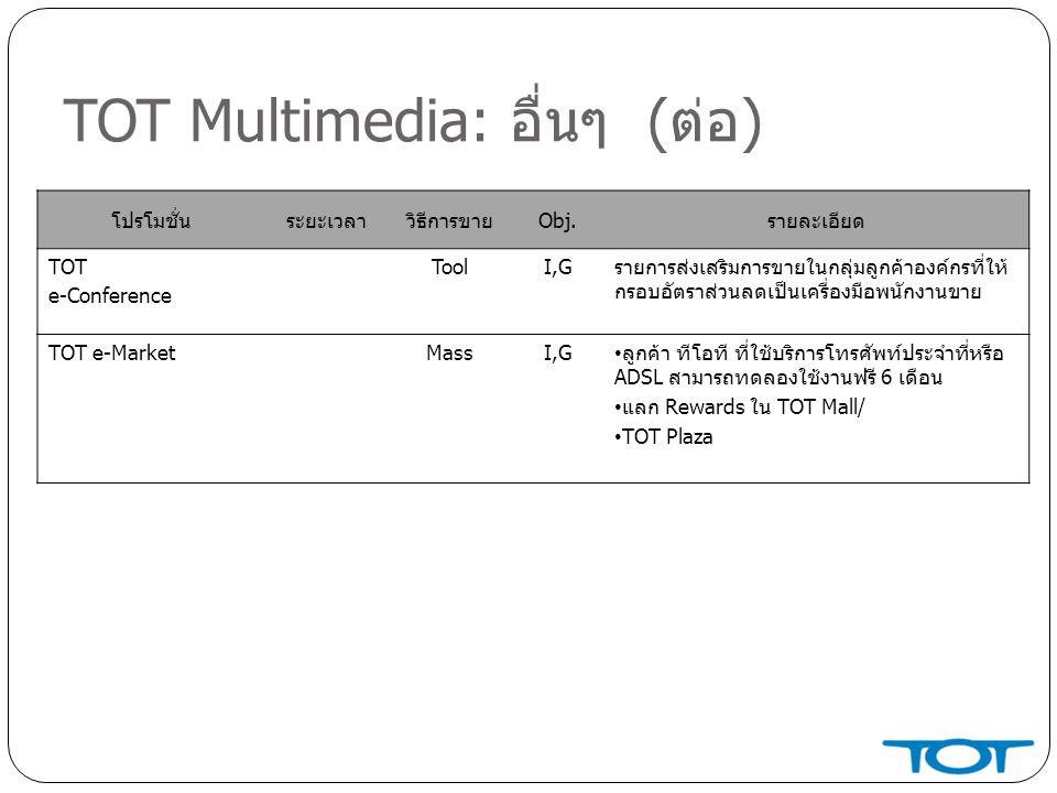 TOT Multimedia: อื่นๆ (ต่อ)