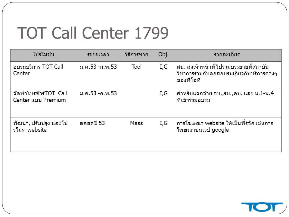 TOT Call Center 1799 โปรโมชั่น ระยะเวลา วิธีการขาย Obj. รายละเอียด
