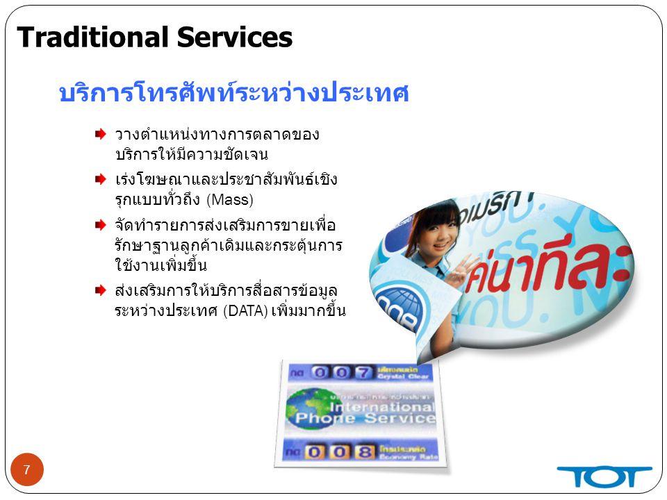 Traditional Services บริการโทรศัพท์ระหว่างประเทศ