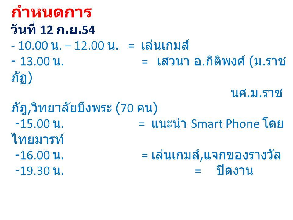 กำหนดการ วันที่ 12 ก. ย. 54 - 10. 00 น. – 12. 00 น. = เล่นเกมส์ - 13