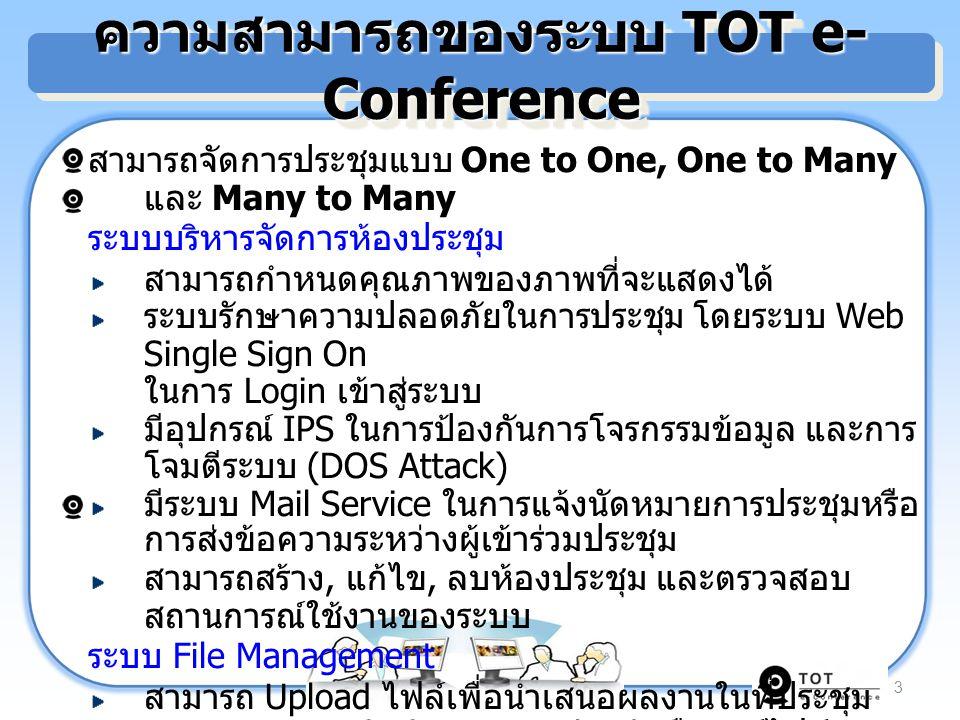 ความสามารถของระบบ TOT e-Conference