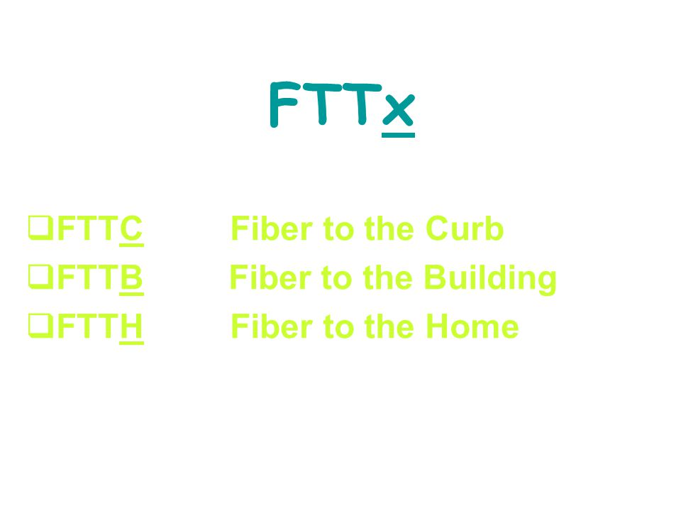 FTTx FTTC Fiber to the Curb FTTB Fiber to the Building