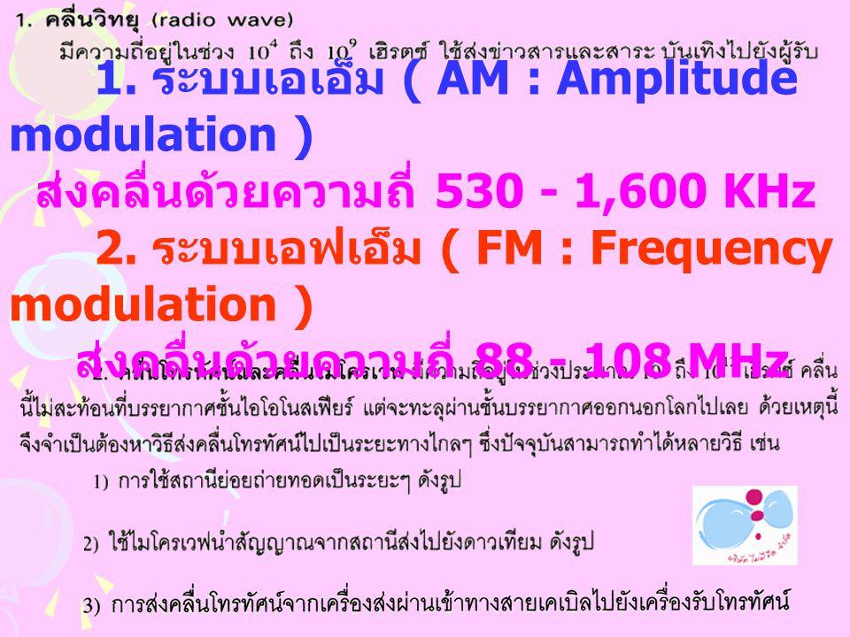 สงคลื่นดวยความถี่ 88 - 108 MHz