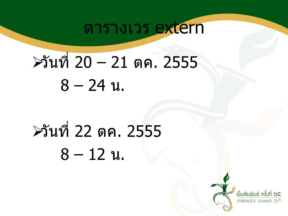 ตารางเวร extern วันที่ 20 – 21 ตค. 2555 8 – 24 น. วันที่ 22 ตค. 2555