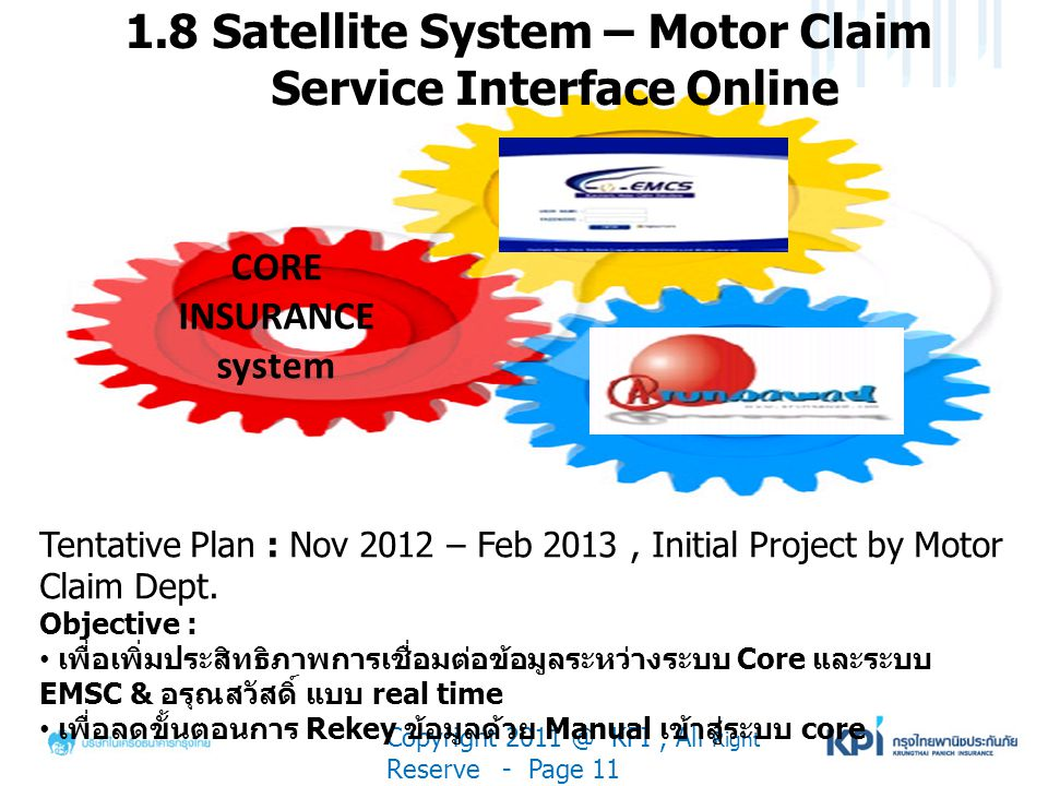 1.8 Satellite System – Motor Claim Service Interface Online