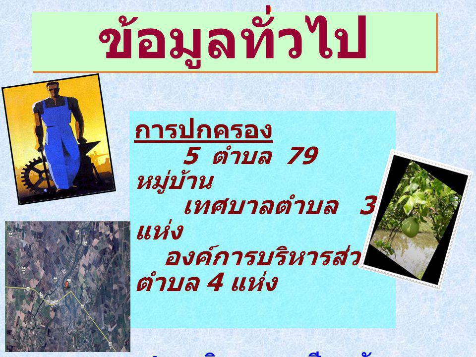 ข้อมูลทั่วไป การปกครอง 5 ตำบล 79 หมู่บ้าน