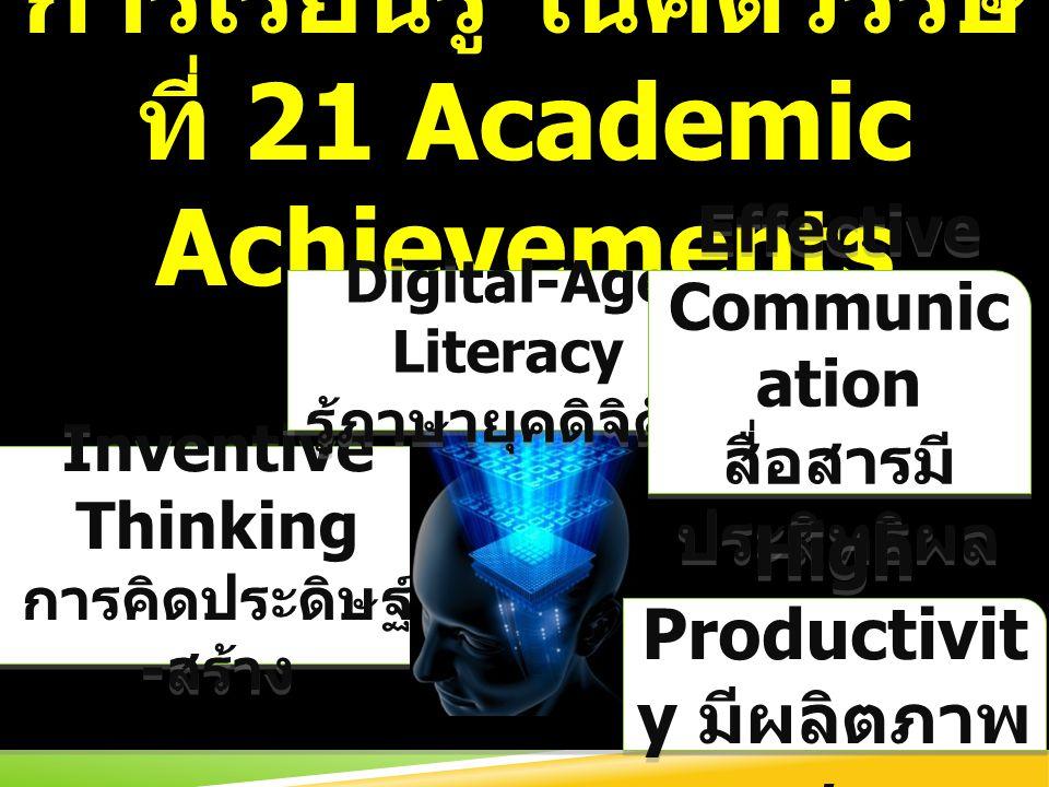 การเรียนรู้ ในศตวรรษที่ 21 Academic Achievements