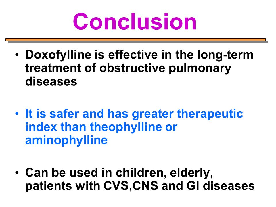 Conclusion Doxofylline is effective in the long-term treatment of obstructive pulmonary diseases.