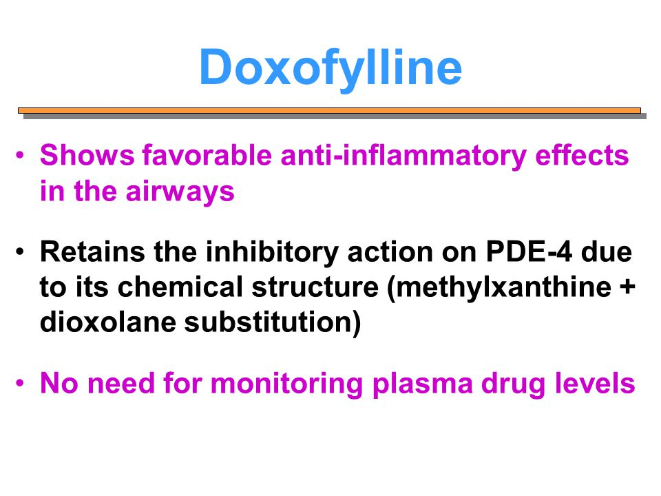 Doxofylline Shows favorable anti-inflammatory effects in the airways