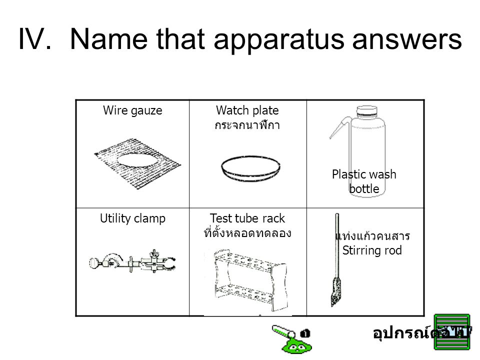 IV. Name that apparatus answers