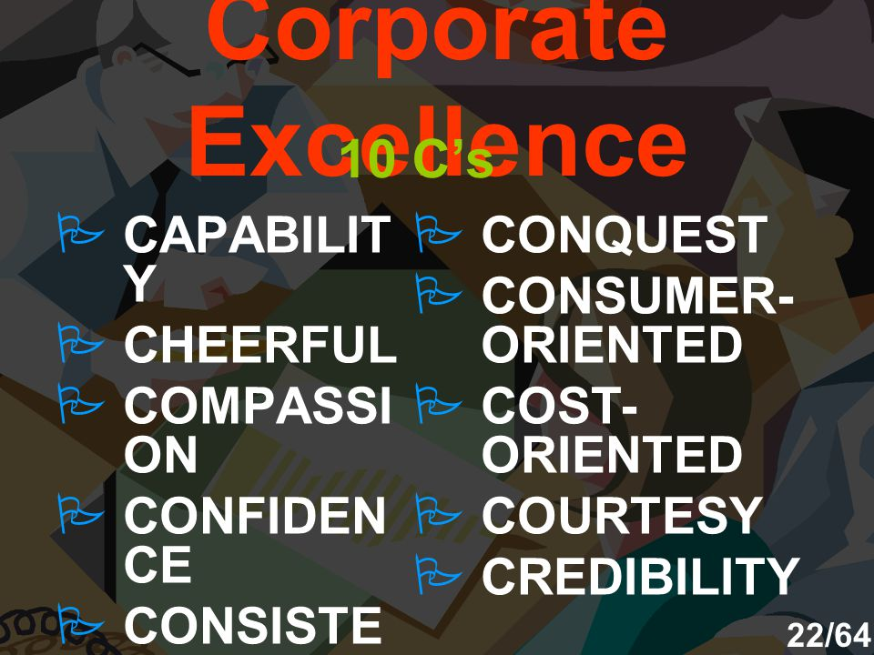Corporate Excellence 10 C's CAPABILITY CHEERFUL COMPASSION CONFIDENCE