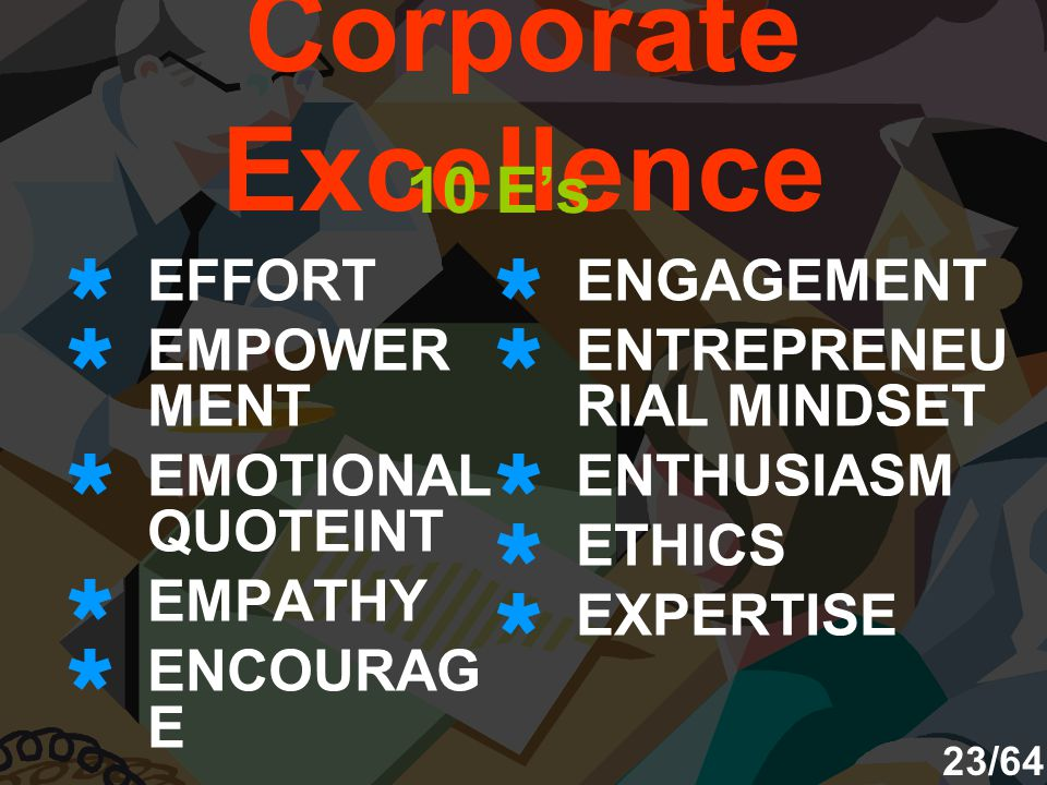 Corporate Excellence 10 E's EFFORT EMPOWERMENT EMOTIONAL QUOTEINT