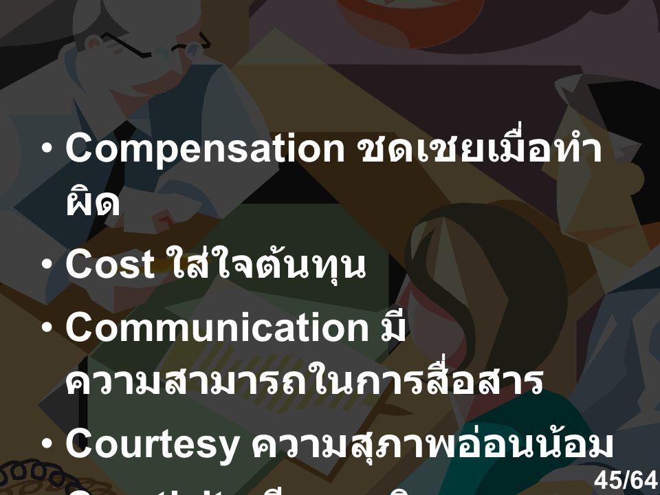 Compensation ชดเชยเมื่อทำผิด Cost ใส่ใจต้นทุน